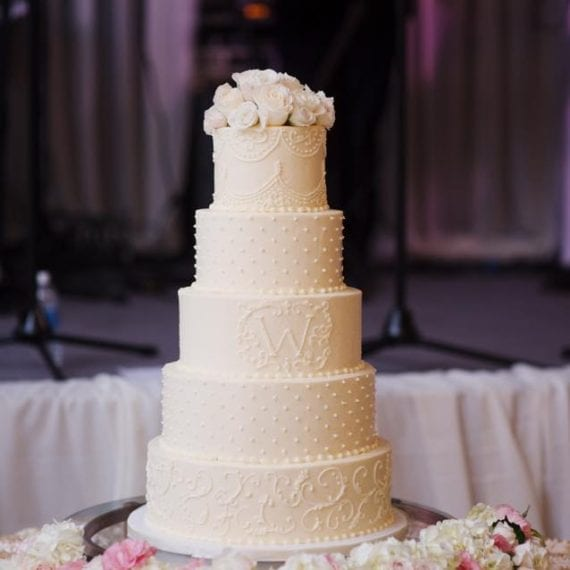 Off White Buttercream Five Tier Wedding Cake