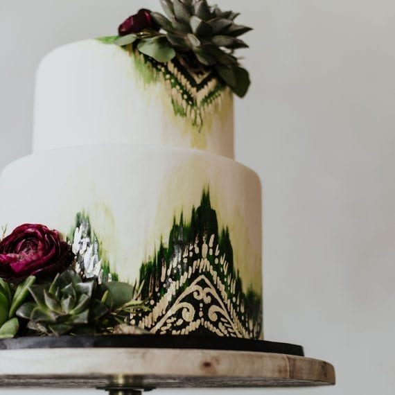 Greens & Gold Watercolor Painted Boho Cake