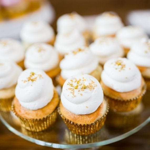 Cupcakes with Gold & White Sprinkles
