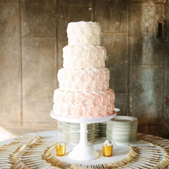 Ombre Pink Rosettes Wedding Cake