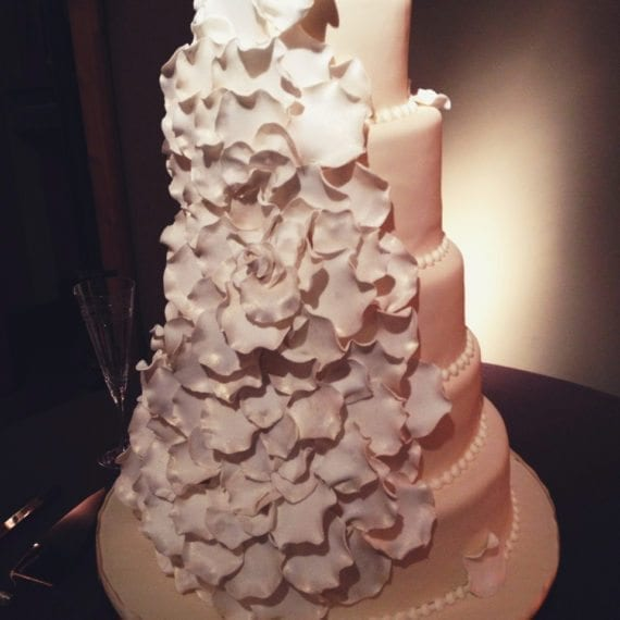 Ivory & White Rose Petal Wedding Cake