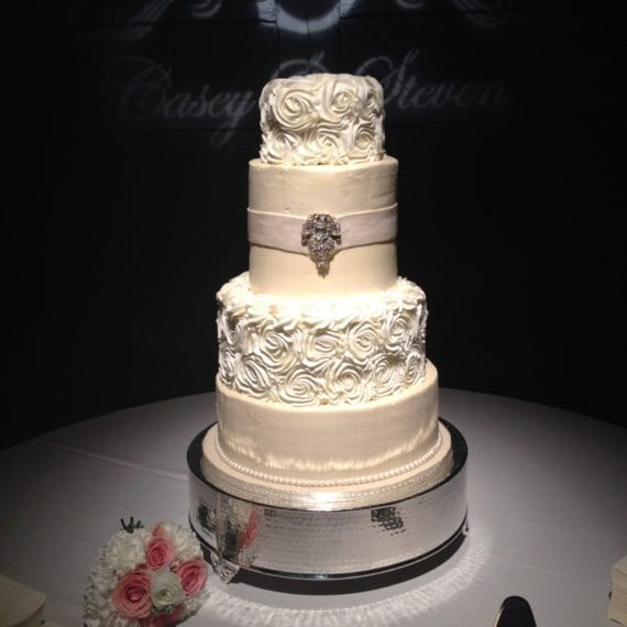 Smooth & Rosettes Buttercream Wedding Cake