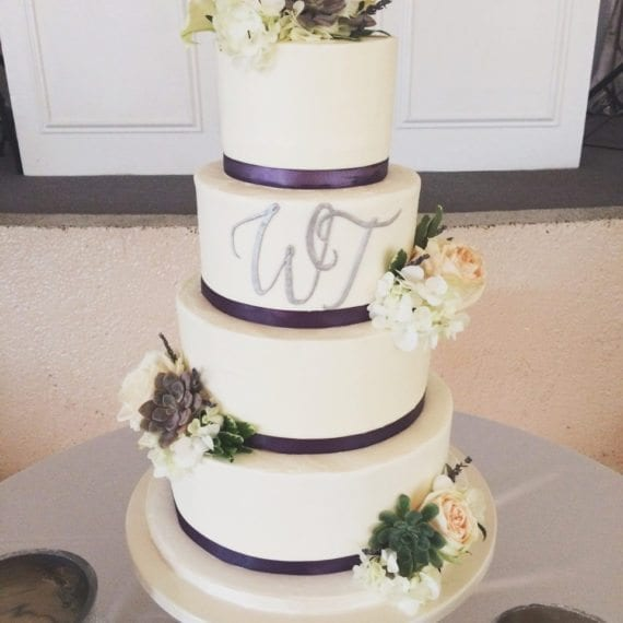 Smooth Buttercream Wedding Cake with Monogram