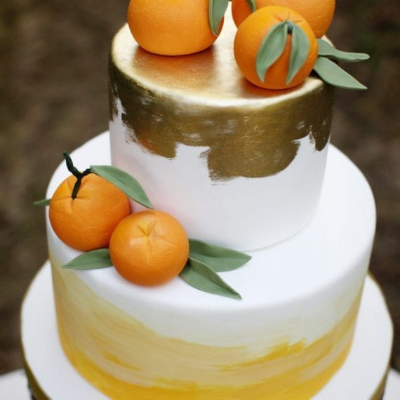 Orange & Gold Watercolor Cake