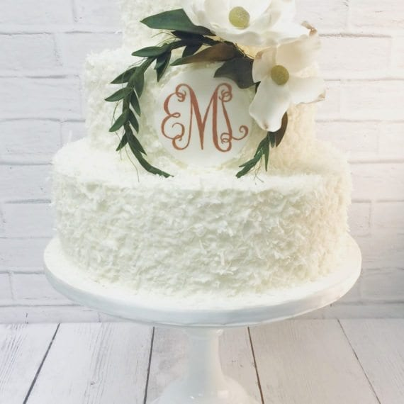 Coconut & Monogram Wedding Cake