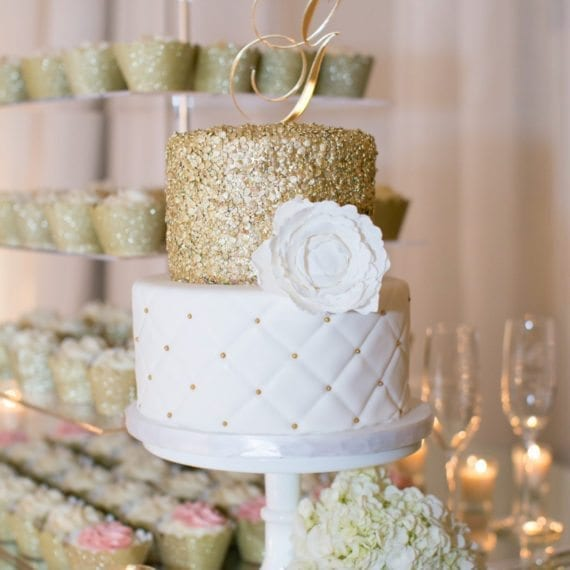Gold Sequins & White Quilted Wedding Cake