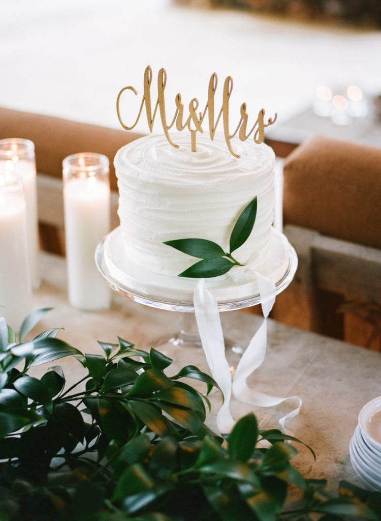 Rustic Textured Lines Buttercream Engagement Cake