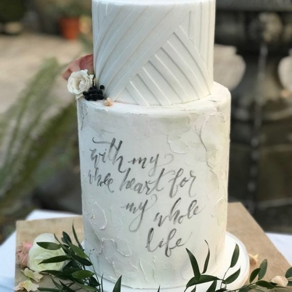 Rustic Painted Wedding Cake with Geometric Accents