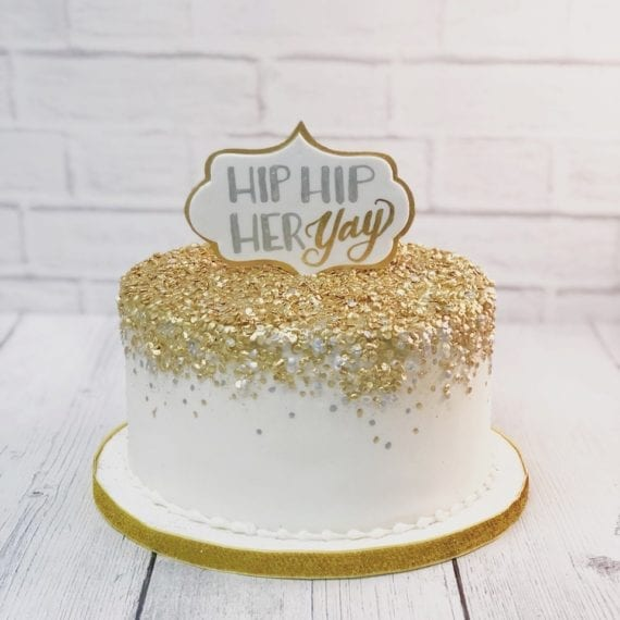 Gold Confetti Cake & Stand Up Plaque