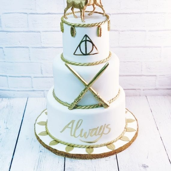 White & Gold Harry Potter Cake
