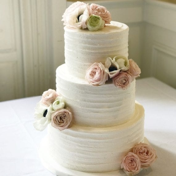 Textured Buttercream Lines Wedding Cake & Fresh Florals