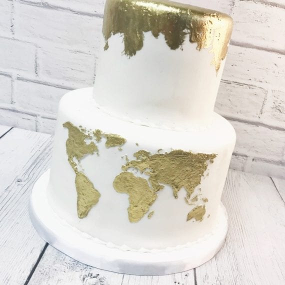 White & Gold World Map