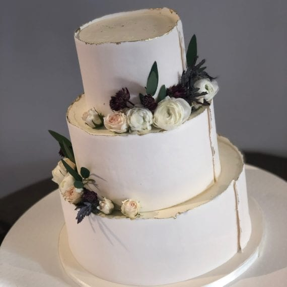 Fondant Raw Edge Wedding Cake with Fresh Flowers