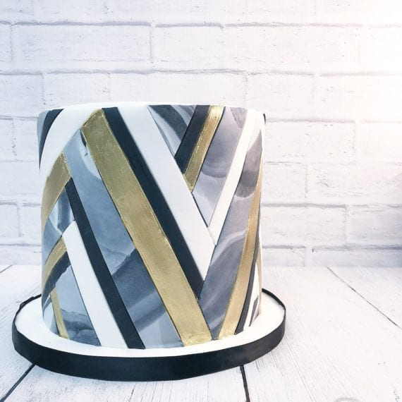 Black, White, Gold & Grey Marble Geometric Cake