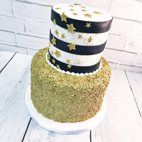 Black & White Stripes, Gold Stars & Gold Sequins Cake