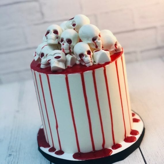 Bloody White Chocolate Skulls Halloween Cake