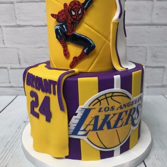 Lakers & Spiderman Birthday Cake