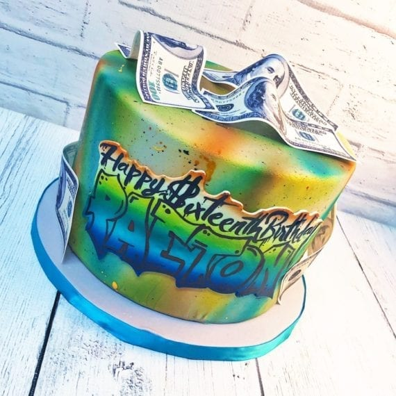 Graffiti Dollar Bill Cake