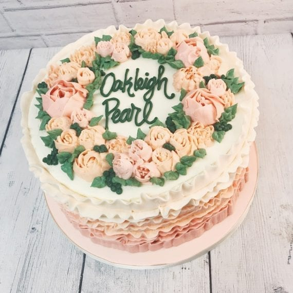 Peach & Blush Pink Buttercream Ruffles & Flowers Cake