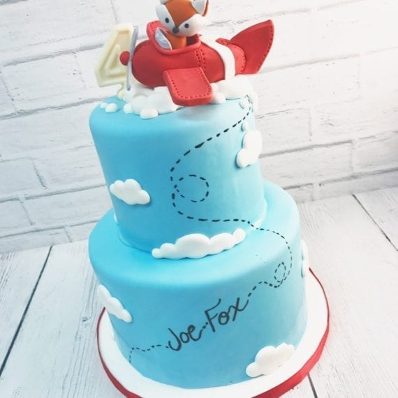 Fox in a Plane Birthday Cake