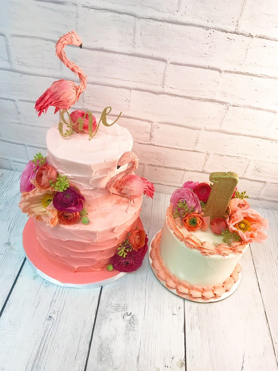 Ombre Pink Buttercream Stucco & Smash Cake with Fresh Flowers