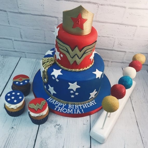 Wonder Woman Cake, Cupcakes & Cake Pops