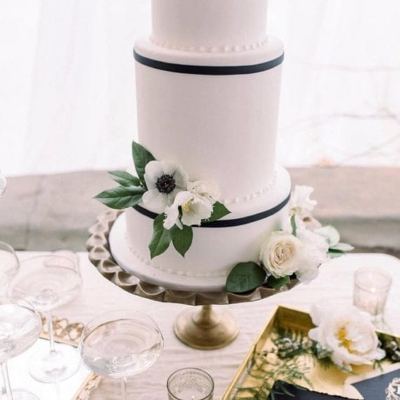 Simple & Classic White Fondant Wedding Cake with Thin Black Trim