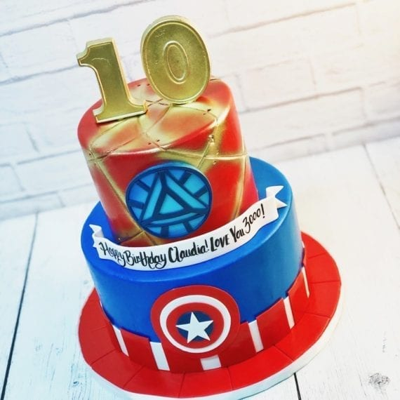 Iron Man & Captain America Avengers Birthday Cake