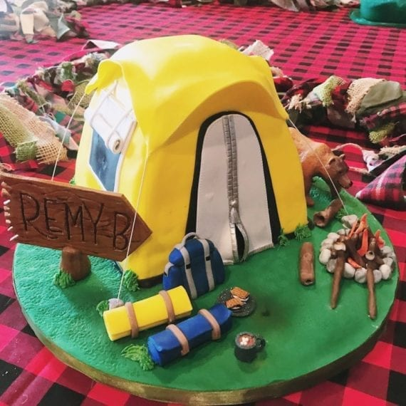 3D Camping Tent Birthday Cake