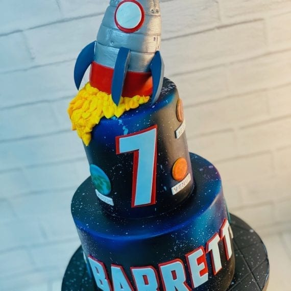 Rocket & Space Birthday Cake