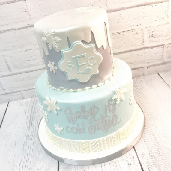 Baby Blue, White & Sliver Winter Snow Cake