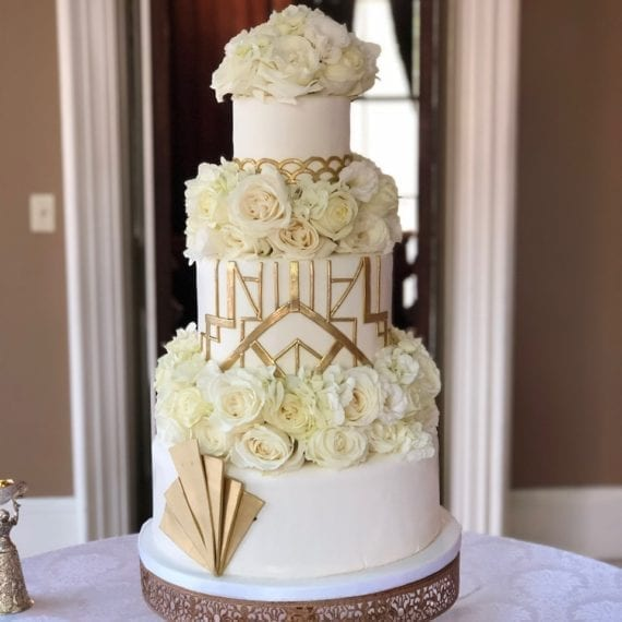 White & Gold Art Deco Great Gatsby Inspired Wedding Cake with Fresh Flowers