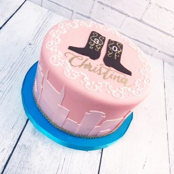 Nashville Pink Skyline and Cowboy Boots Cake