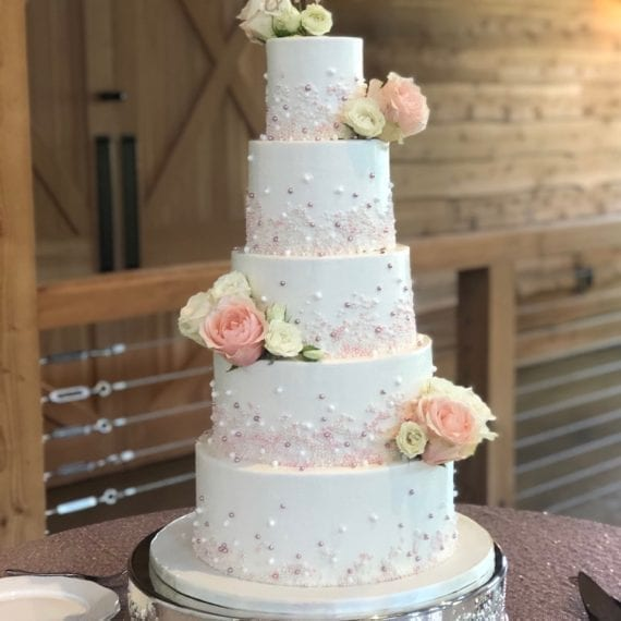 White Buttercream & Pink Pearls Wedding Cake