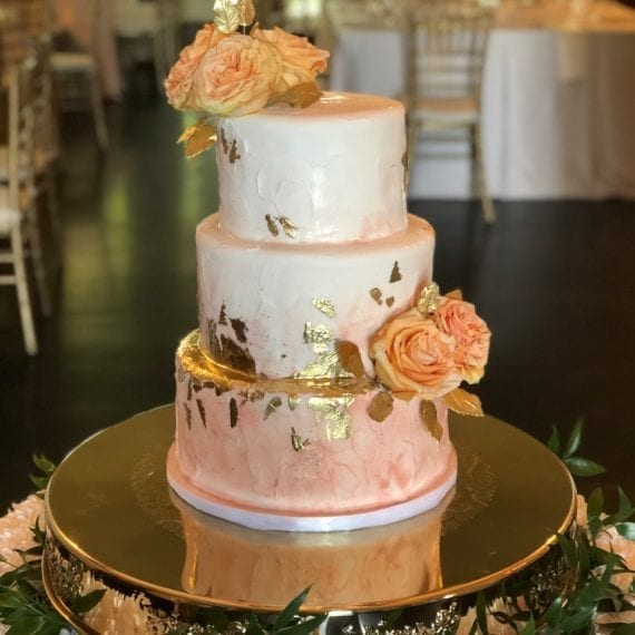 Pink Watercolor & Gold Wedding Cake