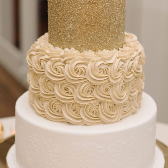 White Tile Texture, Ivory Rosettes & Gold Sugar Crystal Tiers