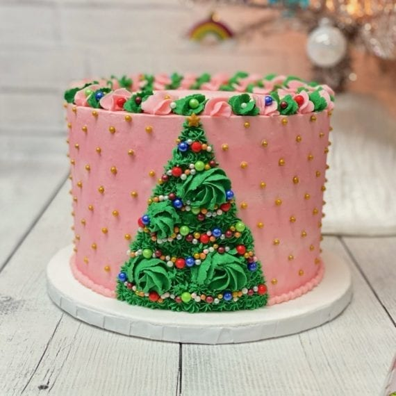 Pink & Green Buttercream Christmas Tree Cake